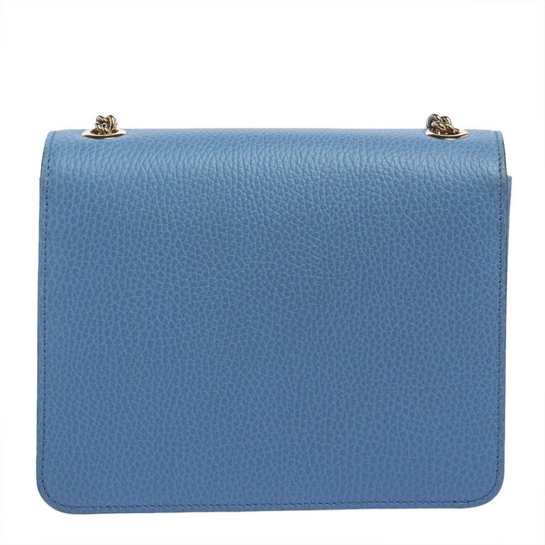 Gucci Blue Leather Small Interlocking G Crossbody Bag In Good Condition In Dubai, Al Qouz 2