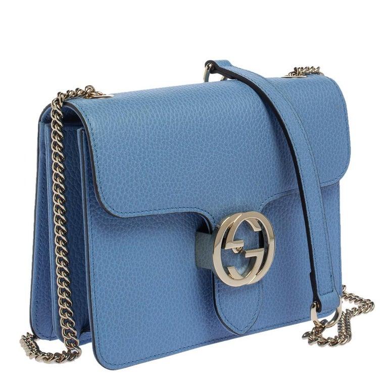 Women's Gucci Blue Leather Small Interlocking G Crossbody Bag