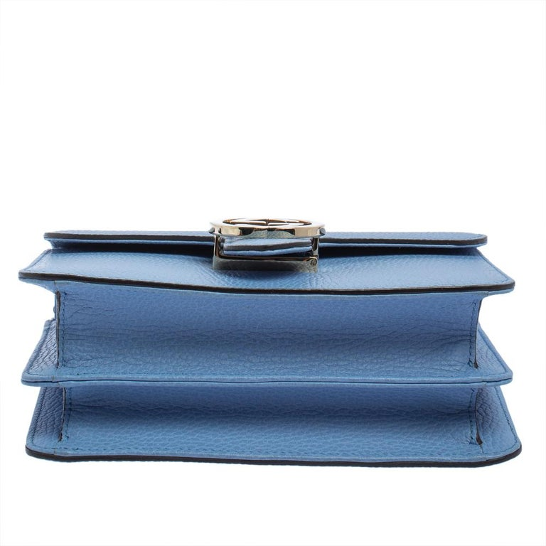 Gucci Blue Leather Small Interlocking G Crossbody Bag 1