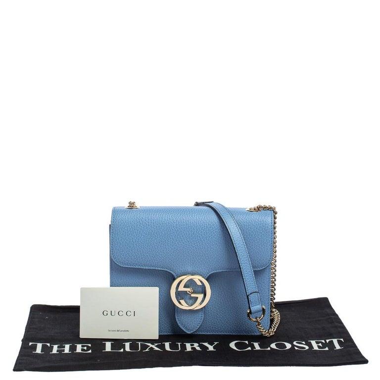 Gucci Blue Leather Small Interlocking G Crossbody Bag 5