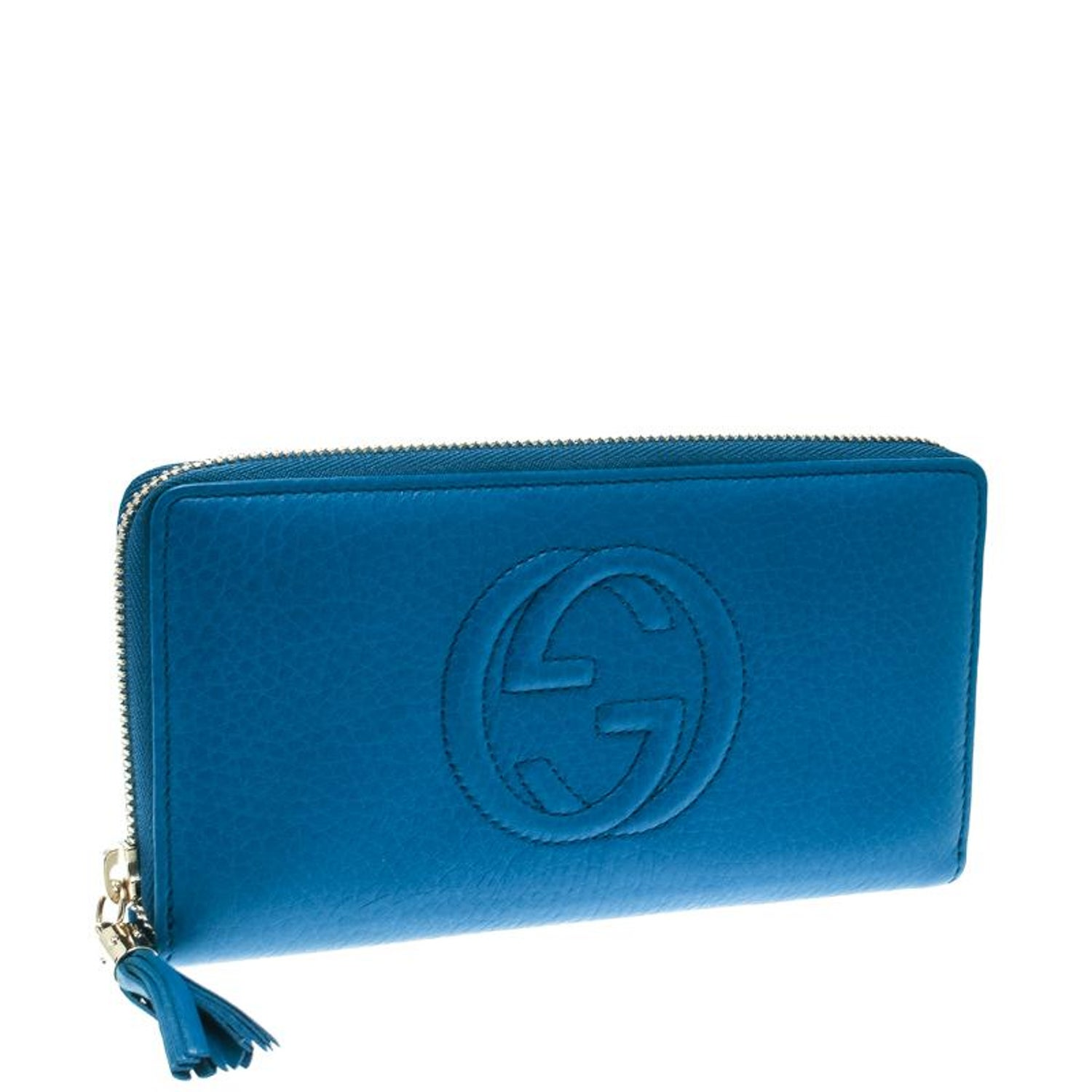 b3da404f5fd2 Gucci Blue Leather Soho Zip Around Wallet For Sale at 1stdibs
