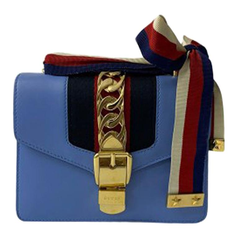 Gucci Blue Leather Sylvie Mini Shoulder Bag
