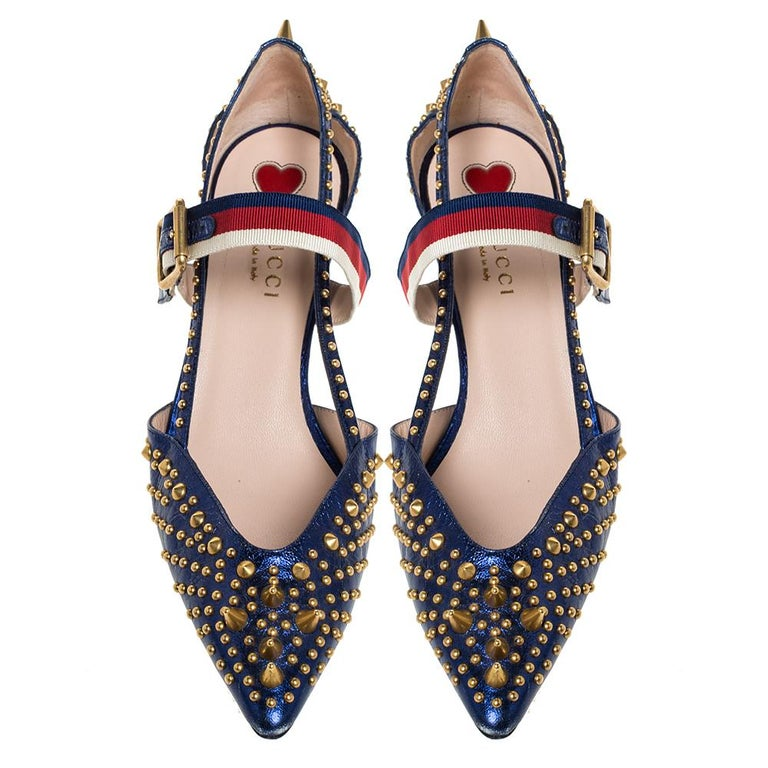 Black Gucci Blue Leather Unia Studded Buckle Strap Pointed Toe Pumps 37.5
