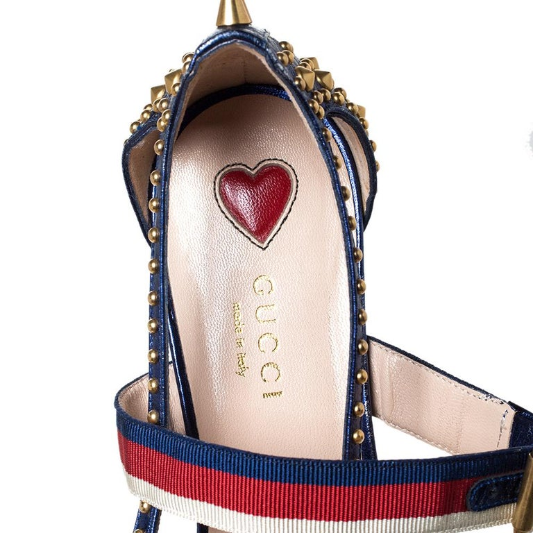 Women's Gucci Blue Leather Unia Studded Buckle Strap Pointed Toe Pumps 37.5