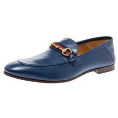 Gucci Blue Leather Web Horsebit Slip On Moccasins Size 44.5