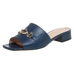 Gucci Blue Leather Zumi Slide Sandals Size 37