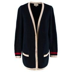 Gucci Blue Lurex Detail Contrast Trim Knit Cardigan - Size M