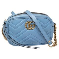 Gucci Blue Matelasse Leather Mini GG Marmont Crossbody Bag