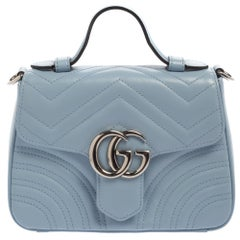 Gucci Blue Matelasse Leather Mini GG Marmont Top Handle Bag