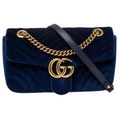 Gucci Blue Matelassé Velvet Small GG Marmont Shoulder Bag