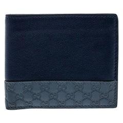 Gucci Blue Micro Guccissima Leather Bi-Fold Wallet