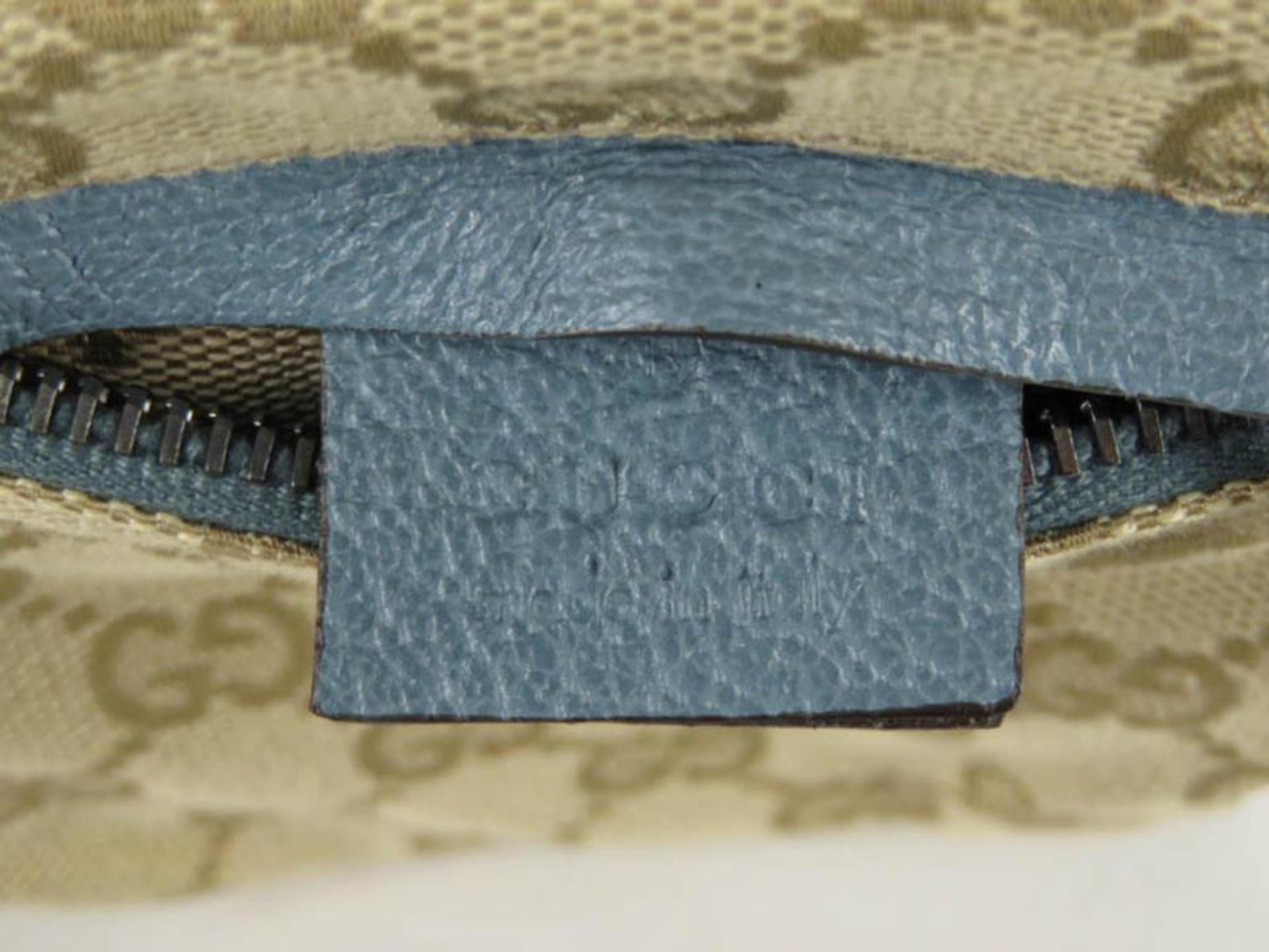 9f02bf5a5c1 Gucci Blue Monogram Gg Fanny Pack Waist Pouch Belt 869510 Brown Coated  Canvas Cr For Sale at 1stdibs