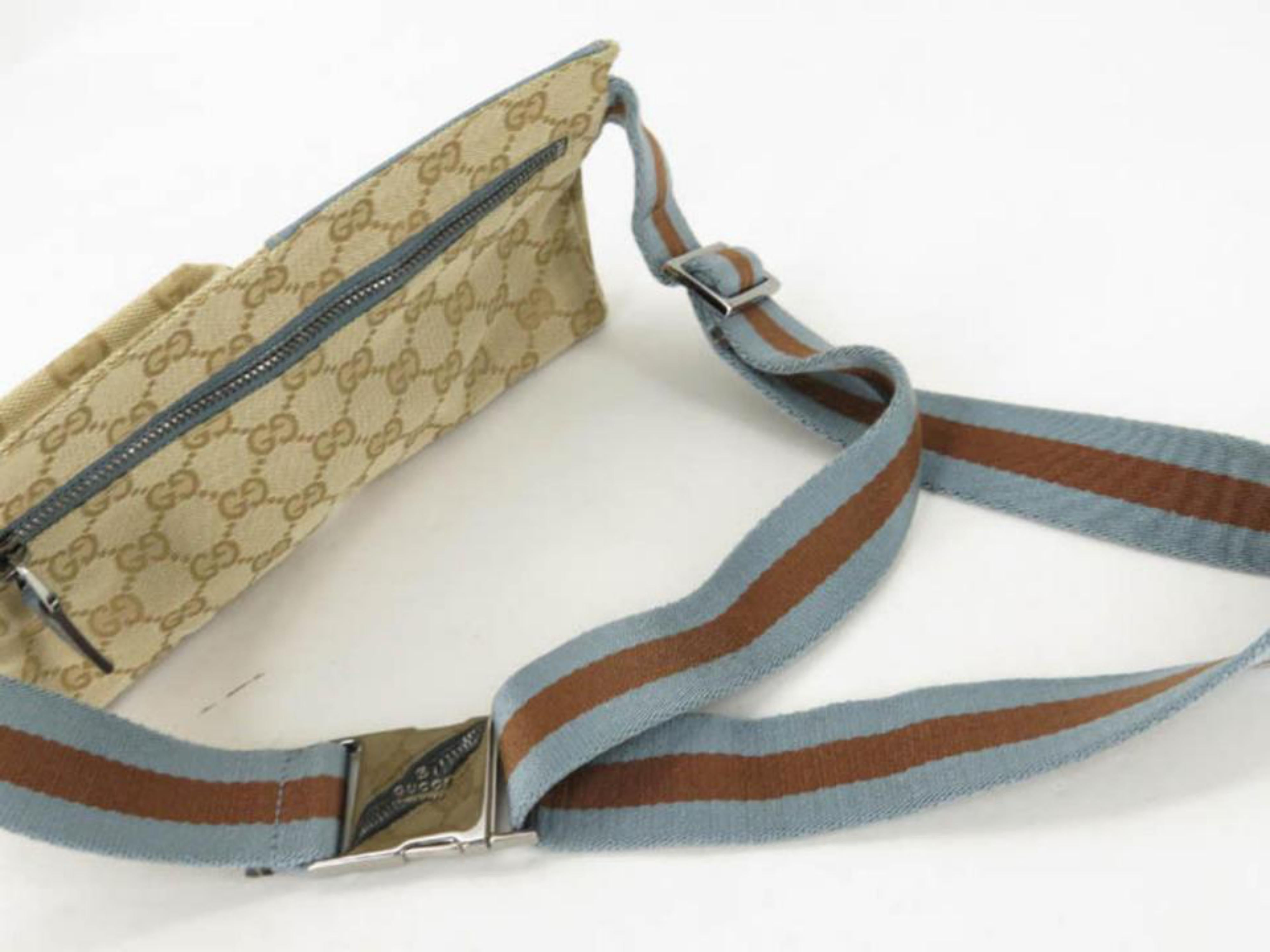 1b506a754fc246 Gucci Blue Monogram Gg Fanny Pack Waist Pouch Belt 869510 Brown Coated  Canvas Cr For Sale at 1stdibs