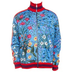 Gucci Blue New Floral Print Jersey Track Jacket XL