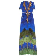 GUCCI Blue Night Garden Silk Gown IT38 US 0-2