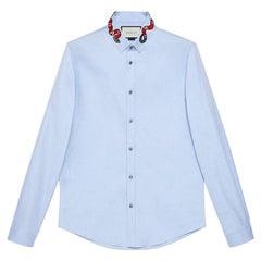 Gucci Blue Oxford Duke shirt with Kingsnake 41/16