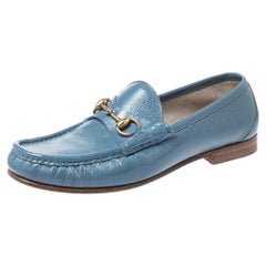 Gucci Blue Patent Leather 1953 Horsebit Loafers Size 40.5