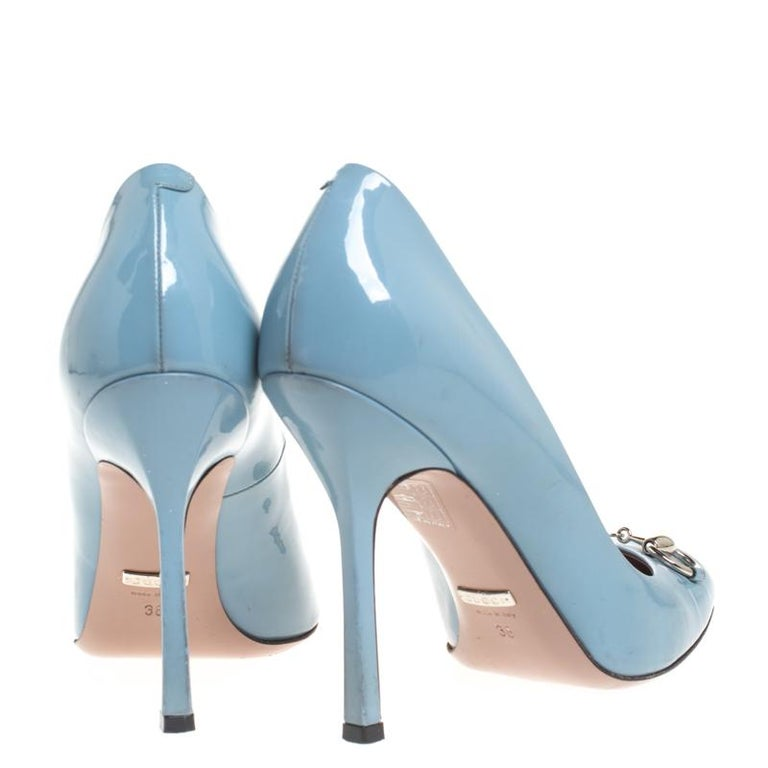 Gray Gucci Blue Patent Leather Jolene Horsebit Pumps Size 38 For Sale