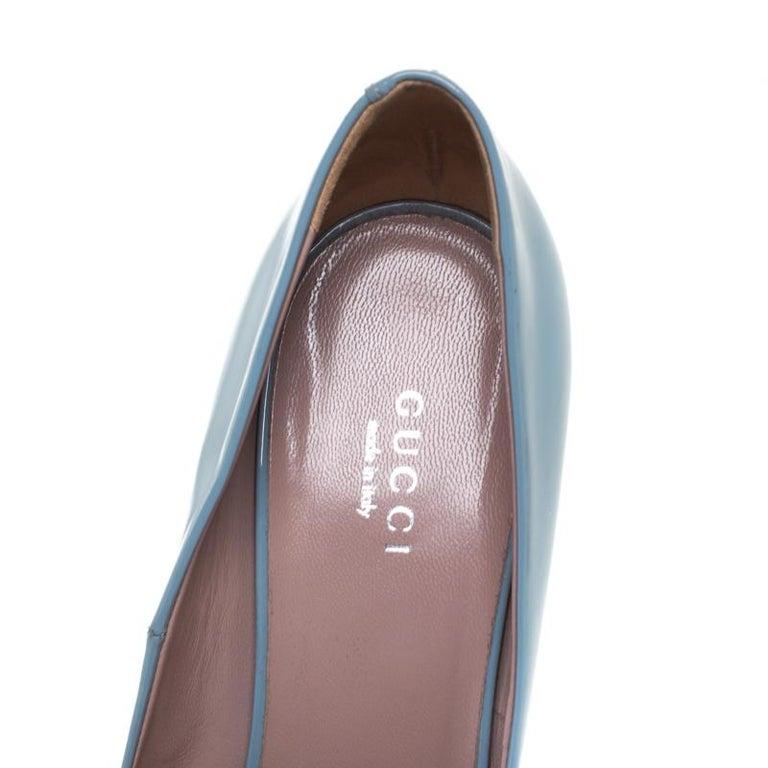 Women's Gucci Blue Patent Leather Jolene Horsebit Pumps Size 38 For Sale