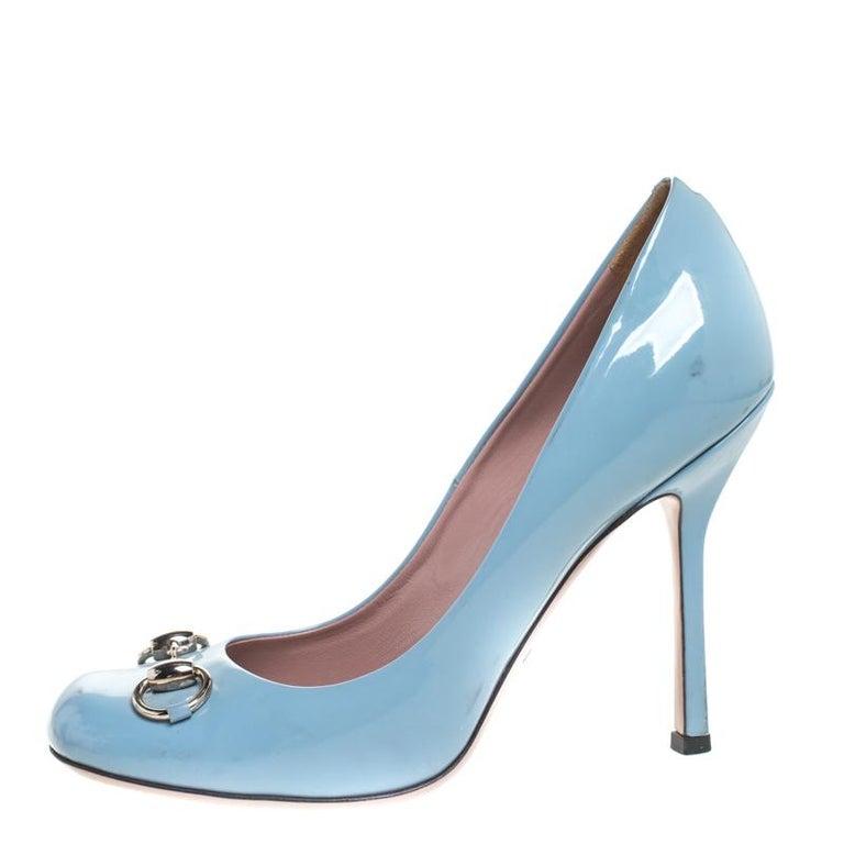 Gucci Blue Patent Leather Jolene Horsebit Pumps Size 38 For Sale 1