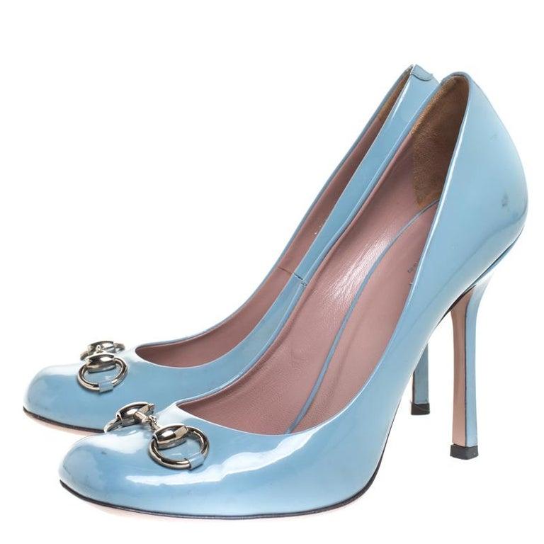 Gucci Blue Patent Leather Jolene Horsebit Pumps Size 38 For Sale 2