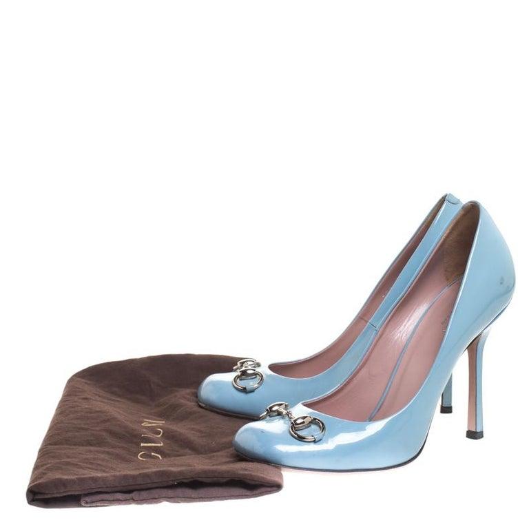 Gucci Blue Patent Leather Jolene Horsebit Pumps Size 38 For Sale 3
