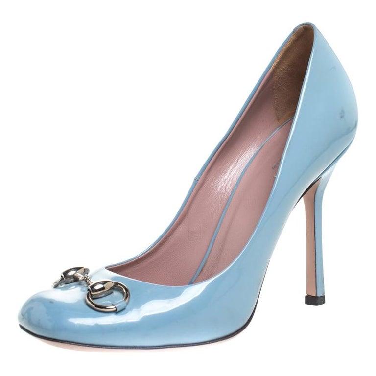Gucci Blue Patent Leather Jolene Horsebit Pumps Size 38 For Sale