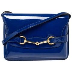 Gucci Blue Patent Leather Large Bright Bit Shoulder Bag