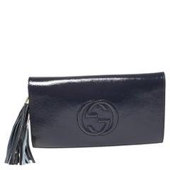 Gucci Blue Patent Leather Soho Clutch