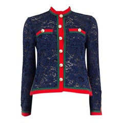 GUCCI blue PEARL EMBELLISHED LACE Cardigan Sweater 40 S