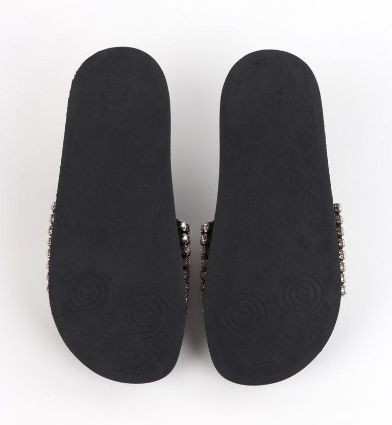 GUCCI Blue Red Calfskin Leather Web Crystal Embellished Sandals Slides  For Sale 5