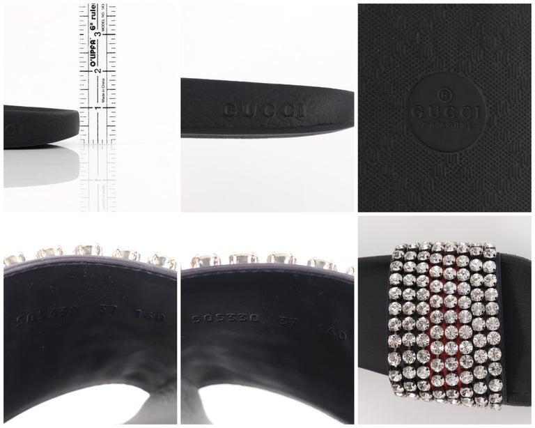 GUCCI Blue Red Calfskin Leather Web Crystal Embellished Sandals Slides  For Sale 6