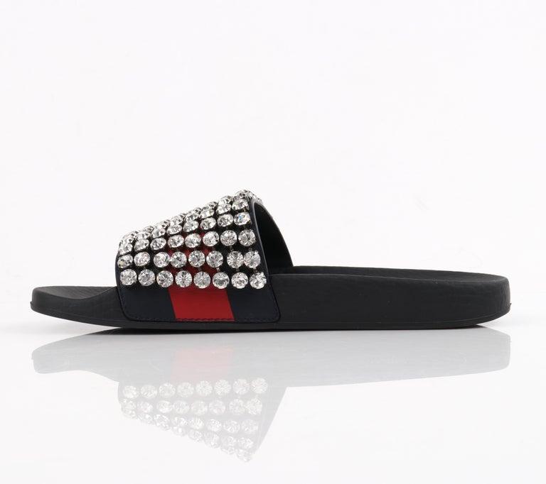 Black GUCCI Blue Red Calfskin Leather Web Crystal Embellished Sandals Slides  For Sale