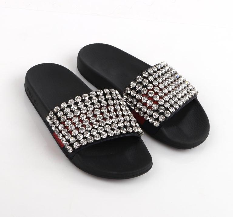 GUCCI Blue Red Calfskin Leather Web Crystal Embellished Sandals Slides  For Sale 1
