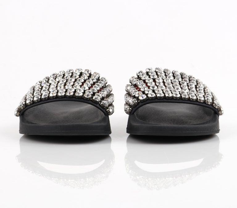 GUCCI Blue Red Calfskin Leather Web Crystal Embellished Sandals Slides  For Sale 2