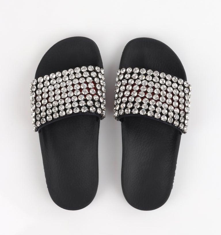 GUCCI Blue Red Calfskin Leather Web Crystal Embellished Sandals Slides  For Sale 4
