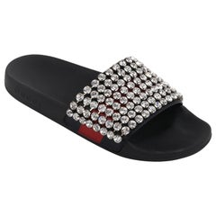 GUCCI Blue Red Calfskin Leather Web Crystal Embellished Sandals Slides