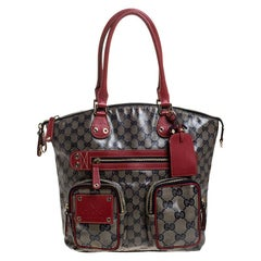 Gucci Blue/Red GG Crystal Coated Canvas Medium Voyager Tote