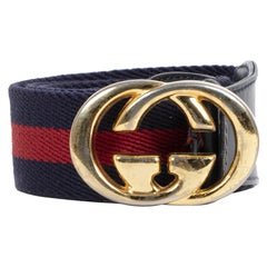Gucci Blue Red Web Belt GG Buck