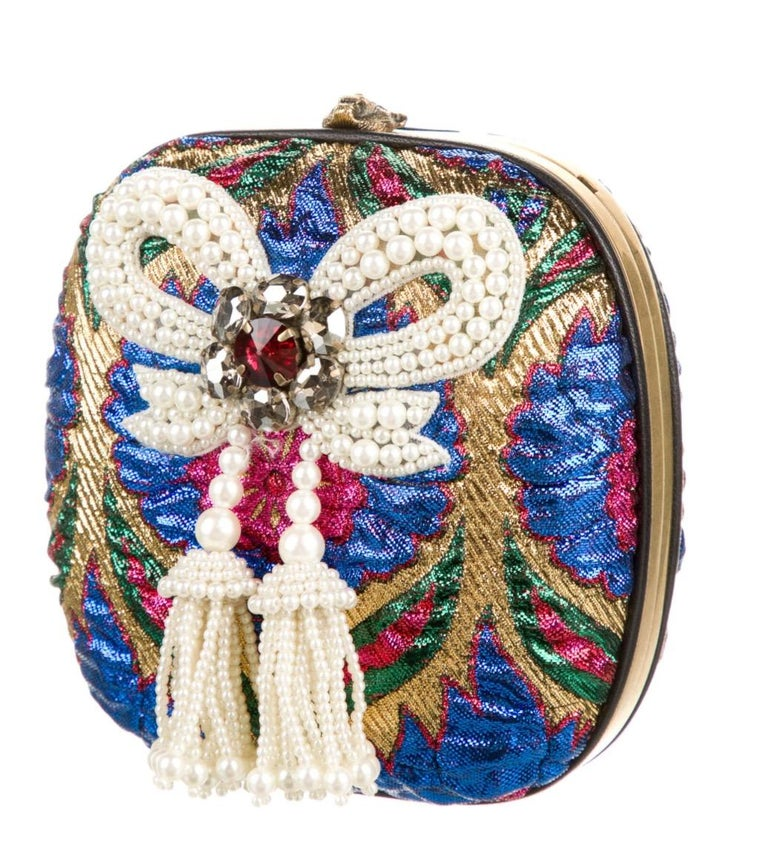 Bead Faux pearl Rhinestone Embroidery Brass hardware Leather lining Kisslock closure  Made in Italy Shoulder strap drop: 24