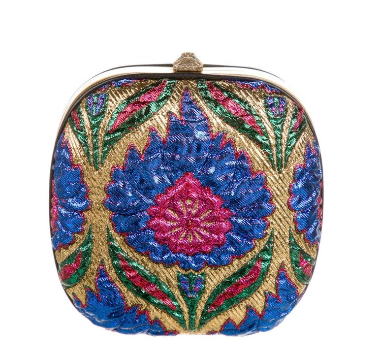 Brown Gucci Blue Red White Gold Multi Bead Embroidery Evening Shoulder Clutch Bag   For Sale