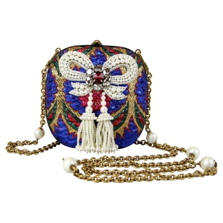 Gucci Blue Red White Gold Multi Bead Embroidery Evening Shoulder Clutch Bag   For Sale