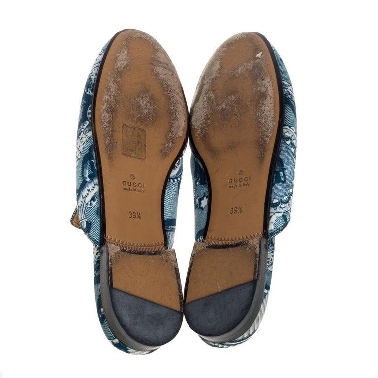 Gucci Blue Satin And Leather Horsebit Princetown Mules Size 39.5 In Good Condition For Sale In Dubai, Al Qouz 2