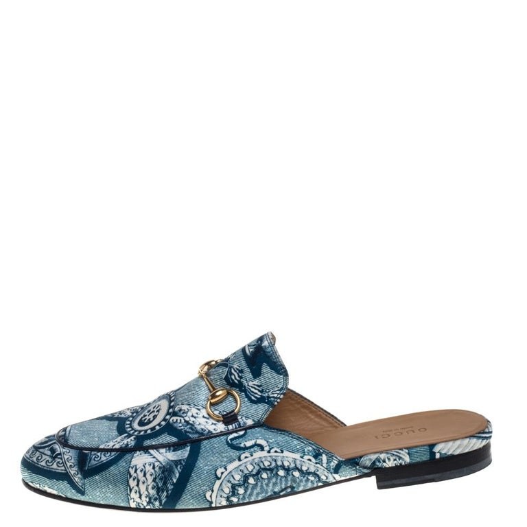 Women's Gucci Blue Satin And Leather Horsebit Princetown Mules Size 39.5 For Sale