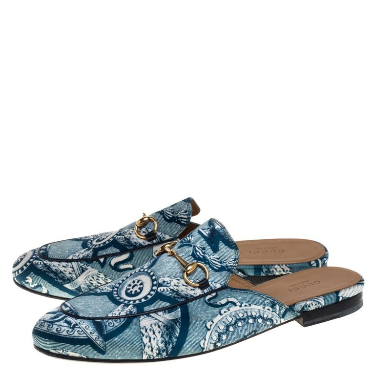 Gucci Blue Satin And Leather Horsebit Princetown Mules Size 39.5 For Sale 1