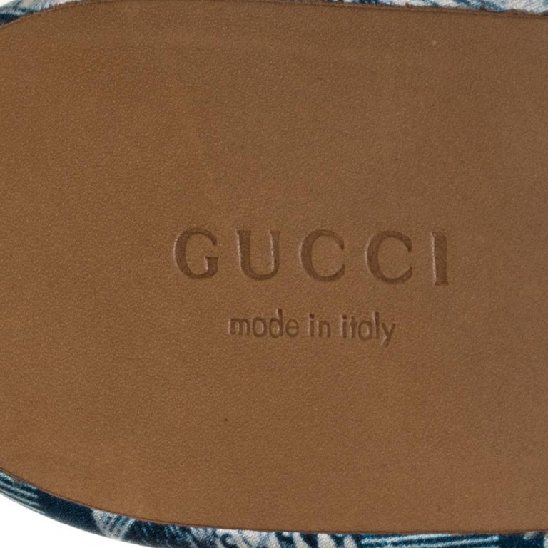 Gucci Blue Satin And Leather Horsebit Princetown Mules Size 39.5 For Sale 2