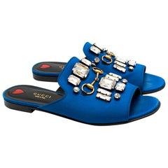 Gucci Blue Satin Embellished Slides 38.5