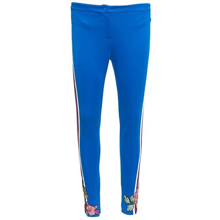 121b0cad8fc0 Gucci Blue Side Stripe Detail Floral Embroidered Kelly Stirrup Track Pants  S For Sale