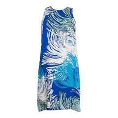 GUCCI blue silk FLORAL Sleeveless Shift Dress 42