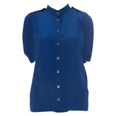 Gucci Blue Silk Pleated Shoulder Shirt S